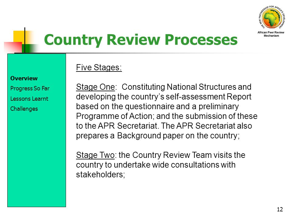 12 Country Review Processes Five Stages: Stage One: Constituting National Structures and developing the countrys self-assessment Report based on the q