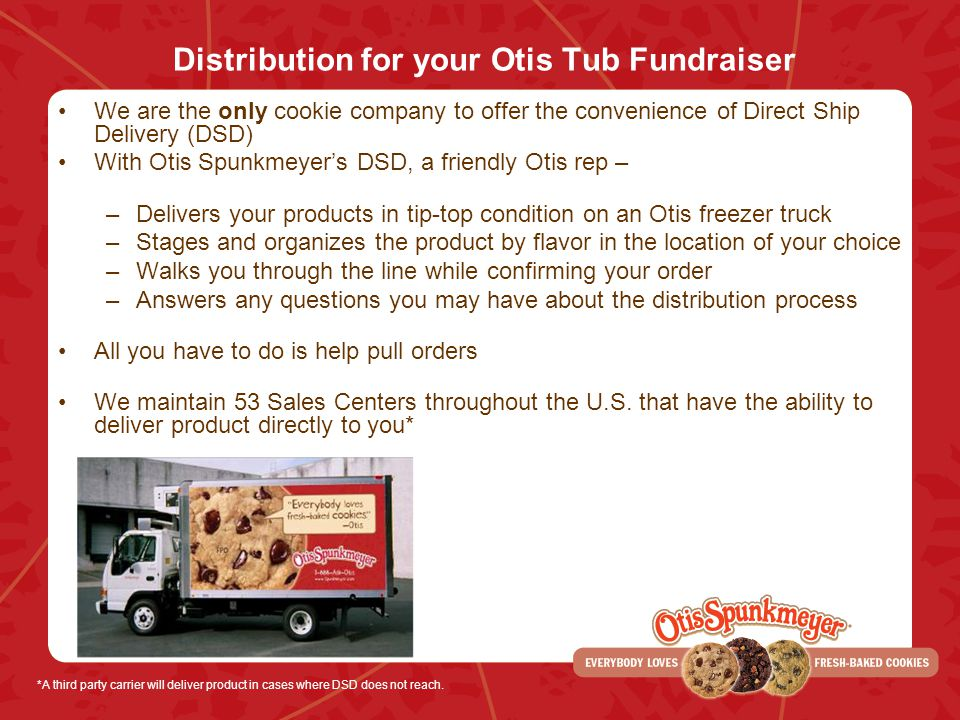 Distribution for your Otis Tub Fundraiser We are the only cookie company to offer the convenience of Direct Ship Delivery (DSD) With Otis Spunkmeyers