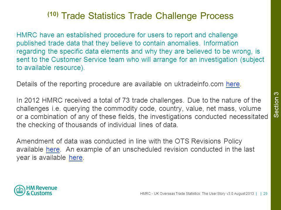 HMRC - UK Overseas Trade Statistics: The User Story v3.0 August 2013 | | 29 (10) Trade Statistics Trade Challenge Process HMRC have an established pro