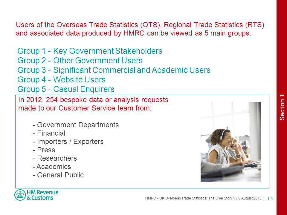 HMRC - UK Overseas Trade Statistics: The User Story v3.0 August 2013 | | 10 Section 2: How is the data used?