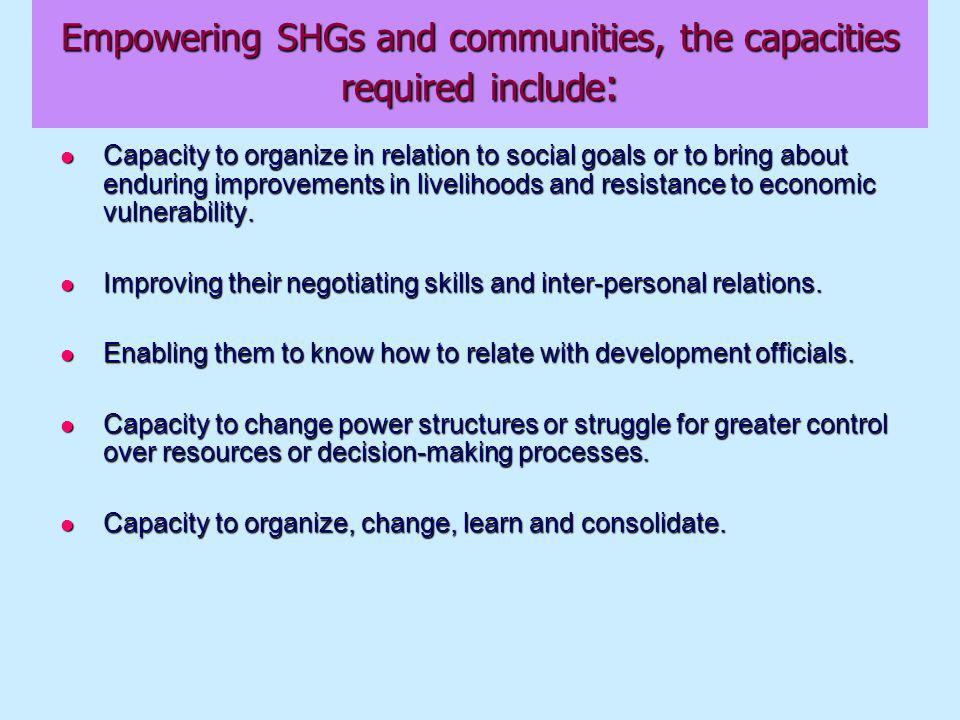 Empowering SHGs and communities, the capacities required include : Capacity to organize in relation to social goals or to bring about enduring improvements in livelihoods and resistance to economic vulnerability.
