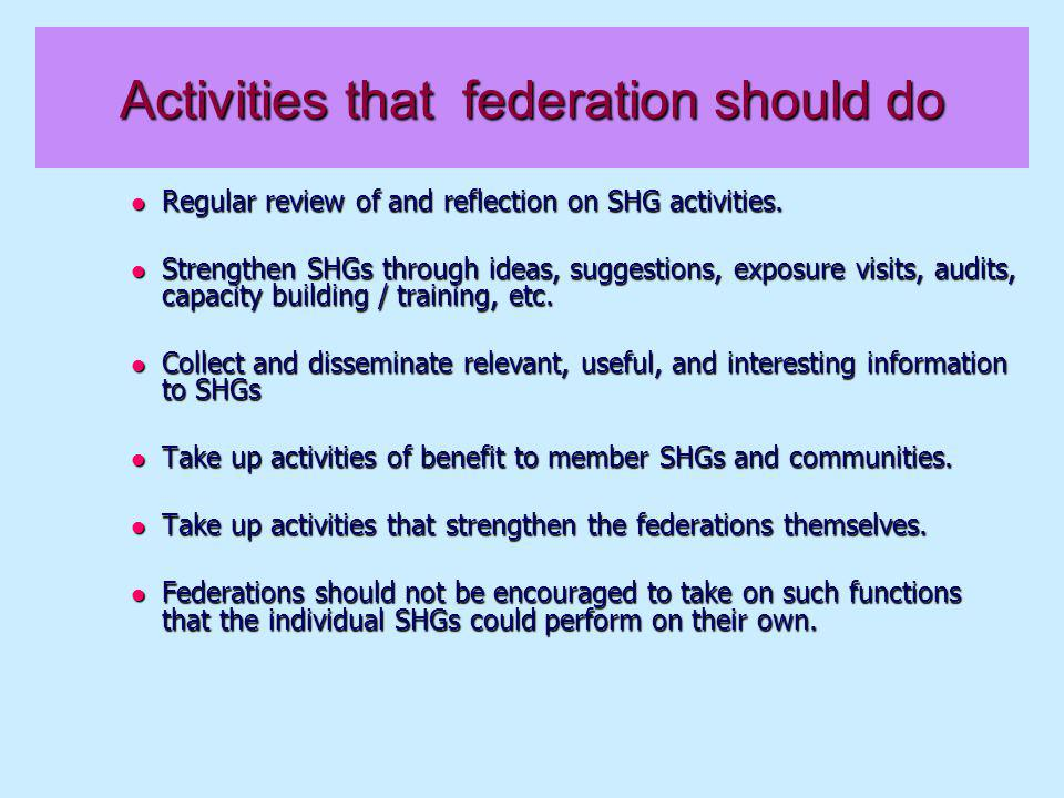 What are the key management features of a federation .