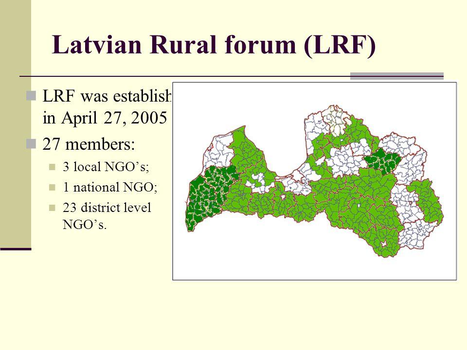 Latvian Rural forum (LRF) LRF was establish in April 27, 2005 27 members: 3 local NGOs; 1 national NGO; 23 district level NGOs.