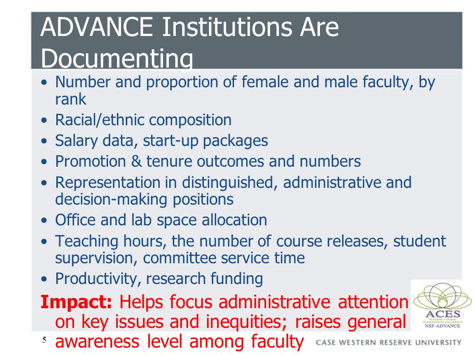 5 ADVANCE Institutions Are Documenting Number and proportion of female and male faculty, by rank Racial/ethnic composition Salary data, start-up packa