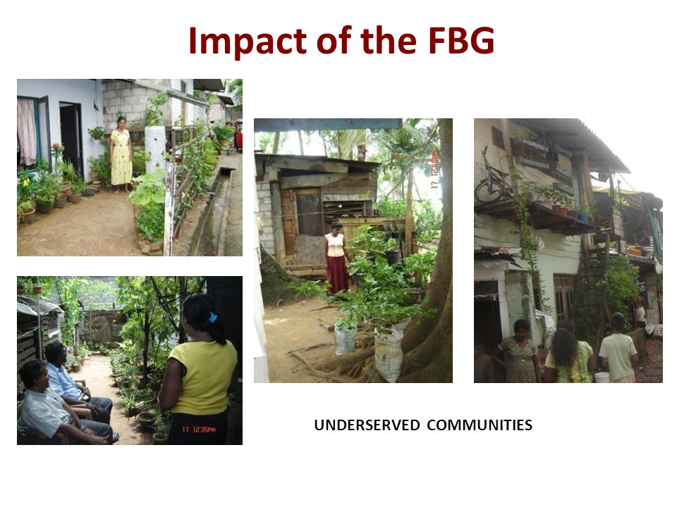 UNDERSERVED COMMUNITIES Impact of the FBG