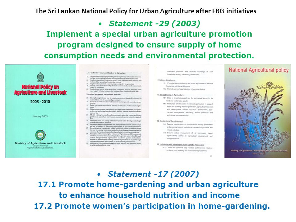 Statement -29 (2003) Implement a special urban agriculture promotion program designed to ensure supply of home consumption needs and environmental protection.