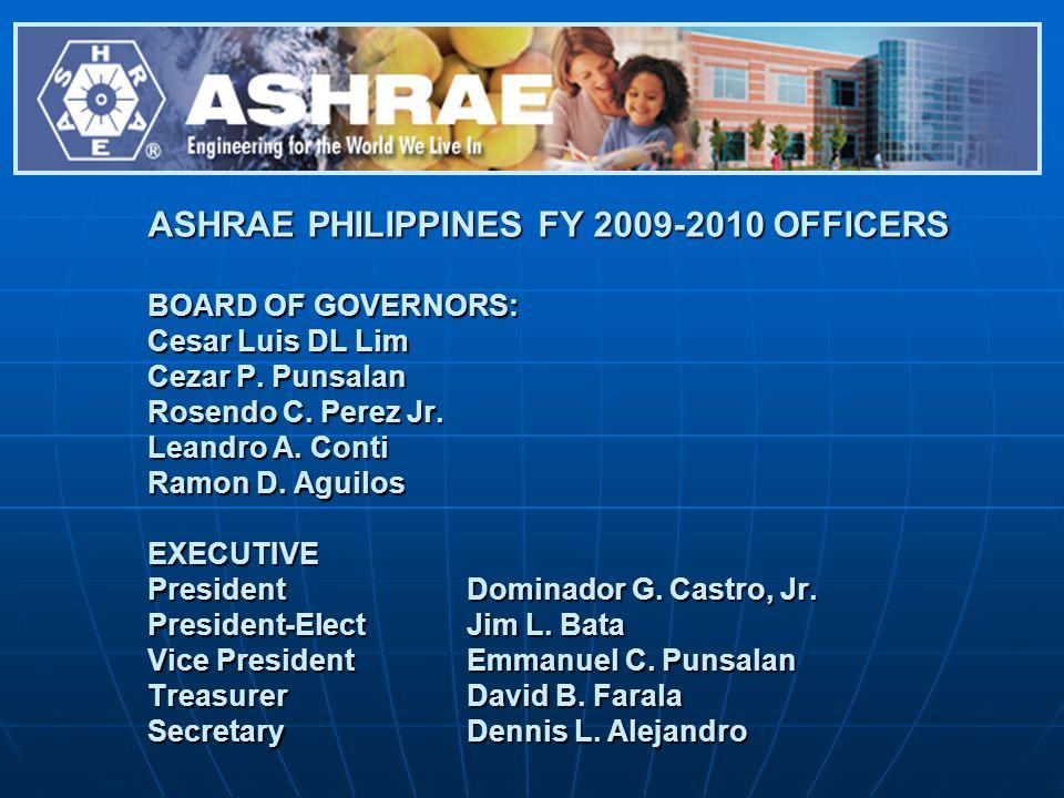 ASHRAE PHILIPPINES FY 2009-2010 OFFICERS BOARD OF GOVERNORS: Cesar Luis DL Lim Cezar P. Punsalan Rosendo C. Perez Jr. Leandro A. Conti Ramon D. Aguilo