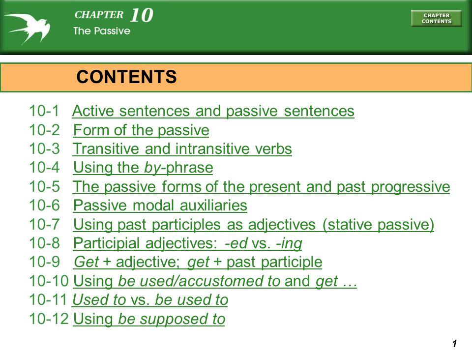 1 10-1 Active sentences and passive sentencesActive sentences and passive sentences 10-2 Form of the passiveForm of the passive 10-3 Transitive and in
