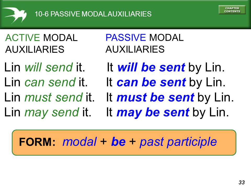 33 10-6 PASSIVE MODAL AUXILIARIES Lin will send it.