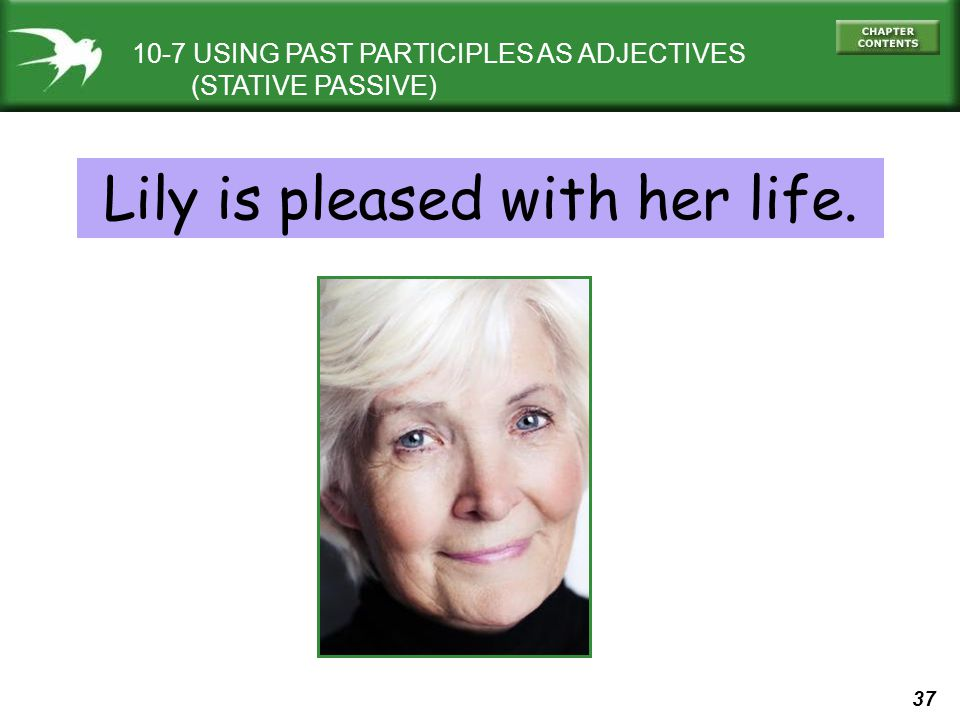 37 10-7 USING PAST PARTICIPLES AS ADJECTIVES (STATIVE PASSIVE) Lily is pleased with her life.