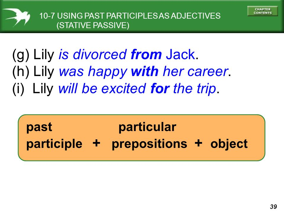 39 10-7 USING PAST PARTICIPLES AS ADJECTIVES (STATIVE PASSIVE) (g) Lily is divorced from Jack. (h) Lily was happy with her career. (i) Lily will be ex