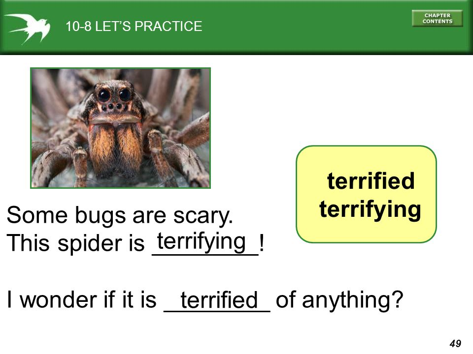 49 10-8 LETS PRACTICE terrified terrifying Some bugs are scary. This spider is ________! I wonder if it is ________ of anything? terrifying terrified
