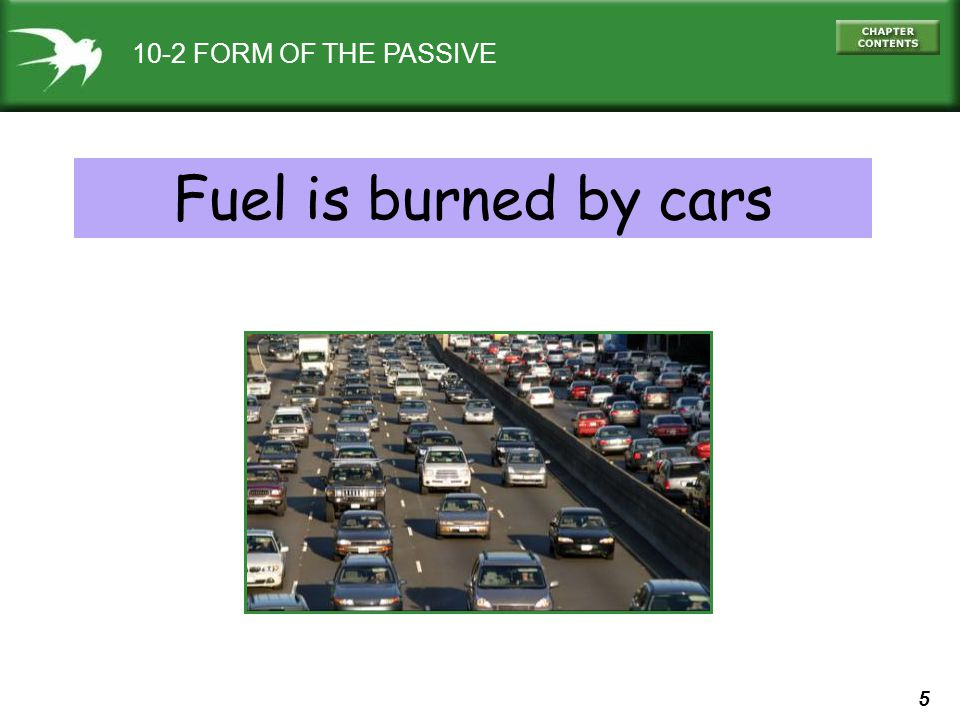 5 10-2 FORM OF THE PASSIVE Fuel is burned by cars