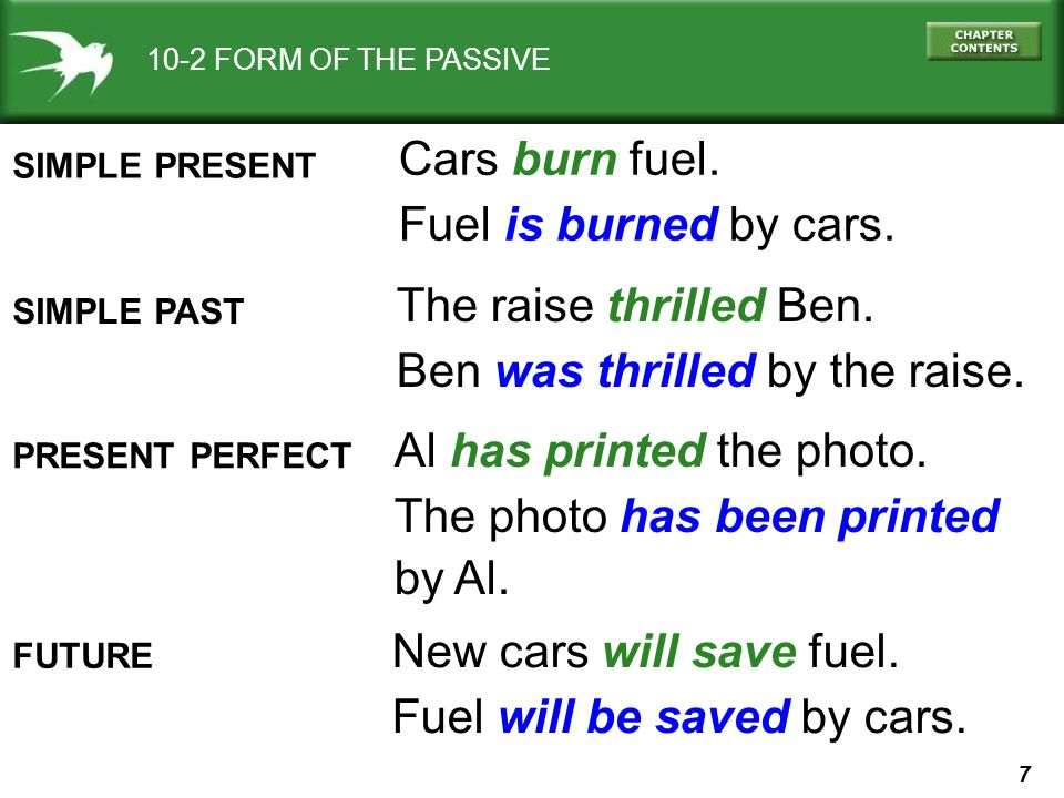 7 10-2 FORM OF THE PASSIVE SIMPLE PRESENT Cars burn fuel.