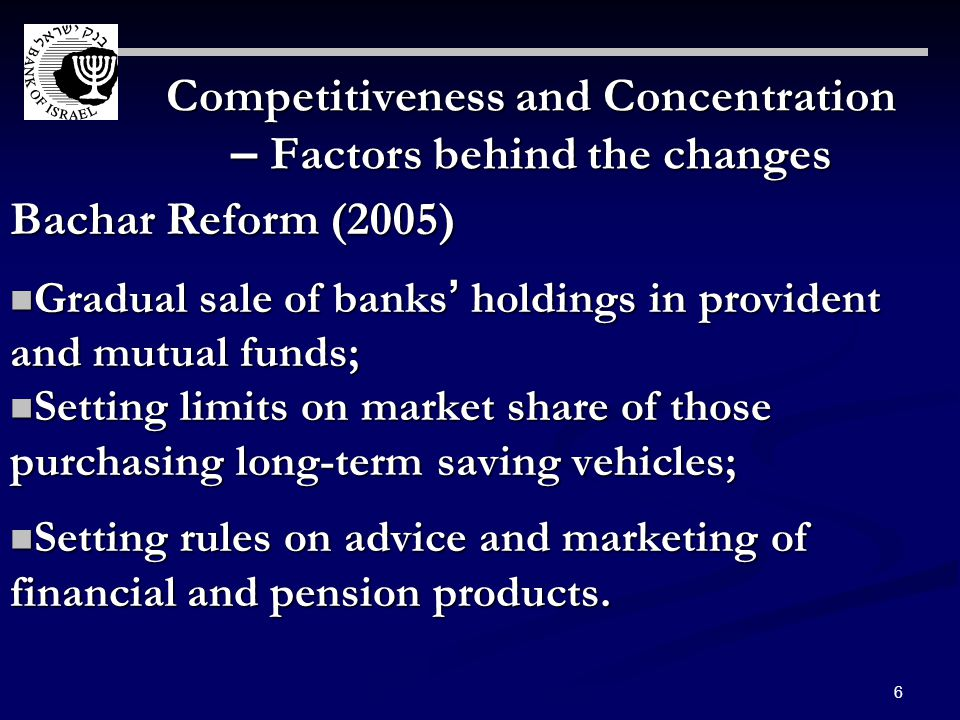 6 Competitiveness and Concentration – Factors behind the changes Bachar Reform (2005) Gradual sale of banks holdings in provident and mutual funds; Gradual sale of banks holdings in provident and mutual funds; Setting limits on market share of those purchasing long-term saving vehicles; Setting limits on market share of those purchasing long-term saving vehicles; Setting rules on advice and marketing of financial and pension products.