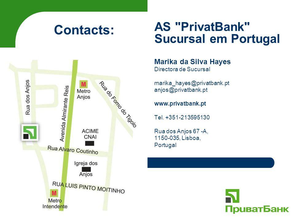Marika da Silva Hayes Directora de Sucursal marika_hayes@privatbank.pt anjos@privatbank.pt www.privatbank.pt Tel. +351-213595130 Rua dos Anjos 67 -A,