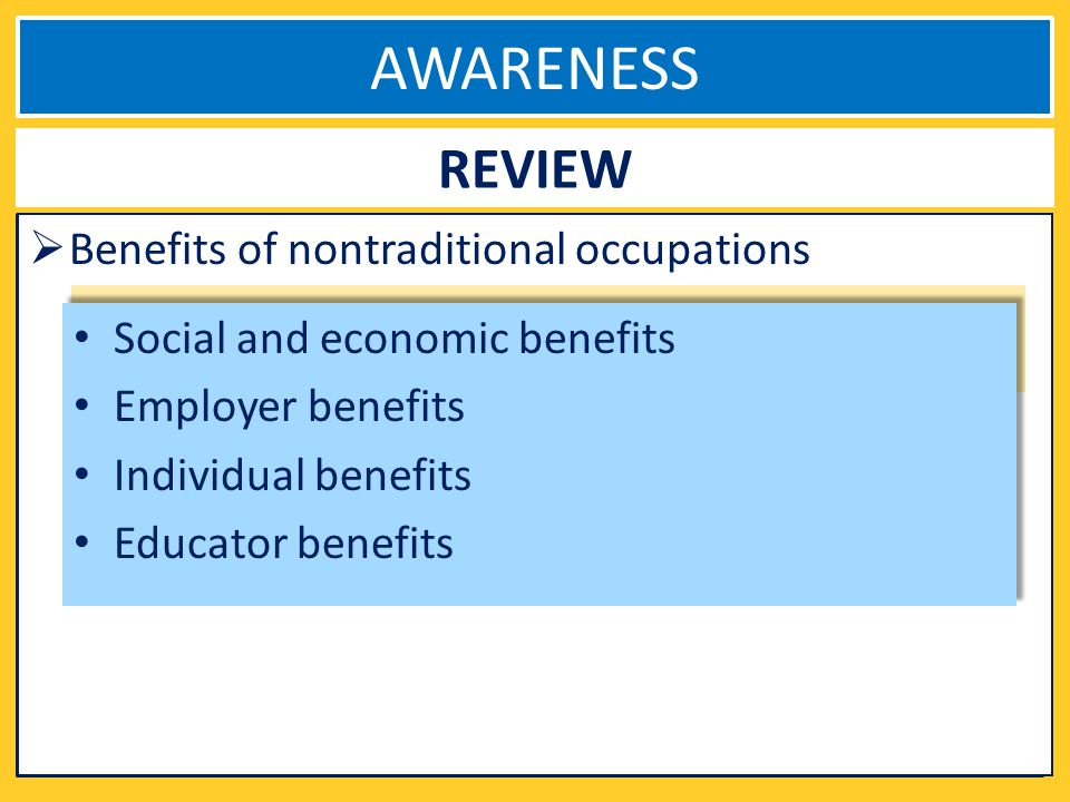 AWARENESS REVIEW Benefits of nontraditional occupations Social and economic benefits Employer benefits Individual benefits Educator benefits Social and economic benefits Employer benefits Individual benefits Educator benefits