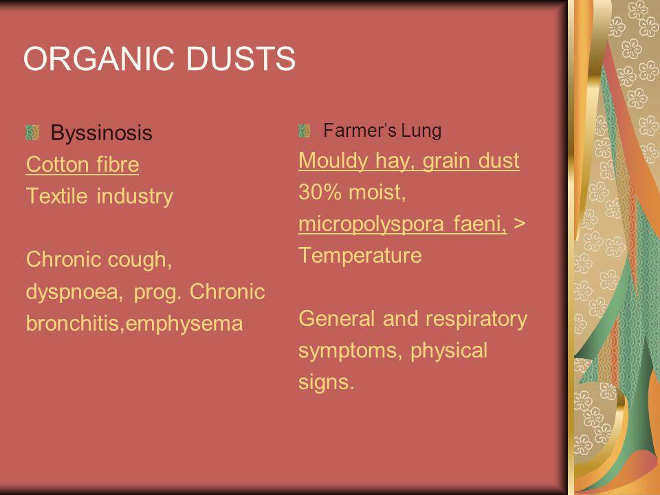 ORGANIC DUSTS Byssinosis Cotton fibre Textile industry Chronic cough, dyspnoea, prog. Chronic bronchitis,emphysema Farmers Lung Mouldy hay, grain dust