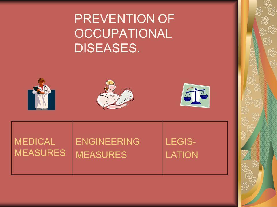 PREVENTION OF OCCUPATIONAL DISEASES. MEDICAL MEASURES ENGINEERING MEASURES LEGIS- LATION