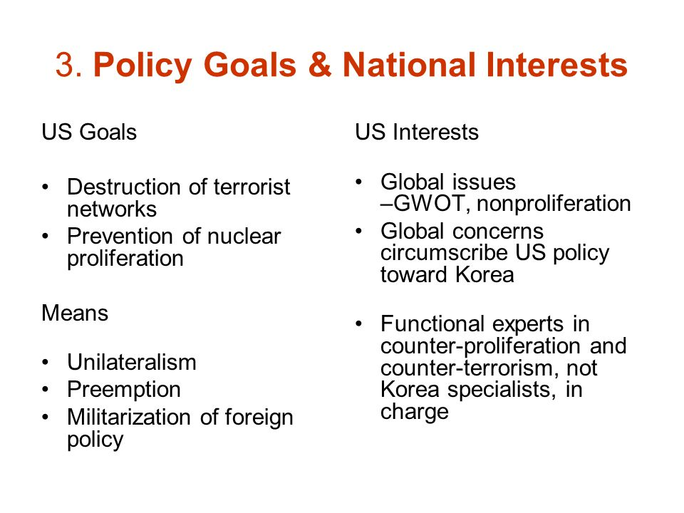 3. Policy Goals & National Interests US Goals Destruction of terrorist networks Prevention of nuclear proliferation Means Unilateralism Preemption Mil