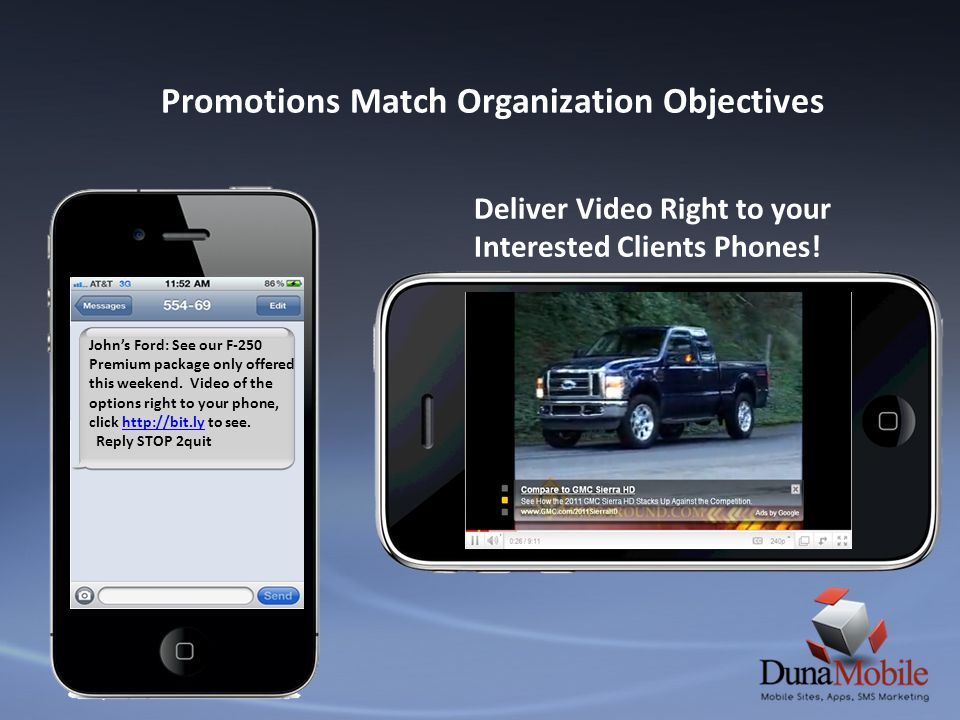 Promotions Match Organization Objectives Deliver Video Right to your Interested Clients Phones! Johns Ford: See our F-250 Premium package only offered