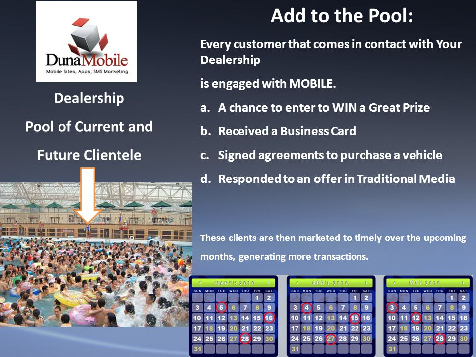 Dealership Pool of Current and Future Clientele Add to the Pool: Every customer that comes in contact with Your Dealership is engaged with MOBILE.