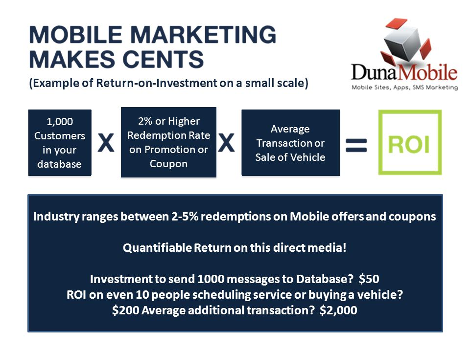 Industry ranges between 2-5% redemptions on Mobile offers and coupons Quantifiable Return on this direct media.