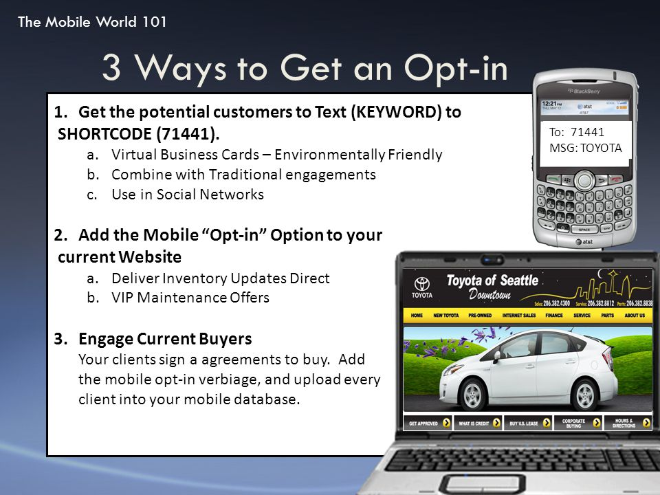 3 Ways to Get an Opt-in 1.Get the potential customers to Text (KEYWORD) to SHORTCODE (71441). a.Virtual Business Cards – Environmentally Friendly b.Co