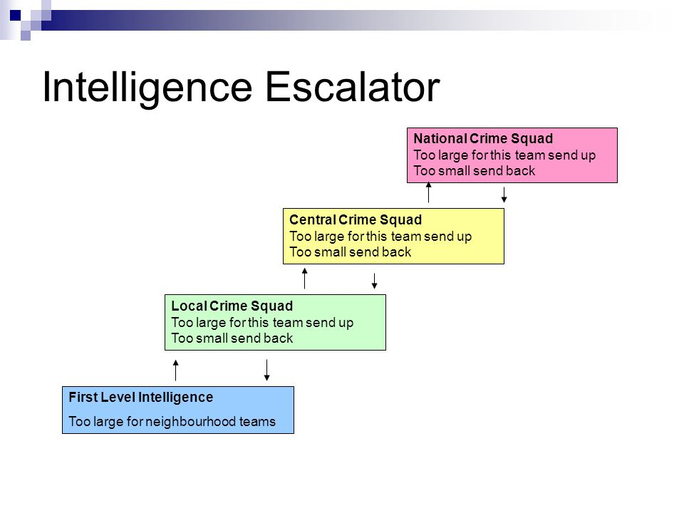 Intelligence Escalator First Level Intelligence Too large for neighbourhood teams Local Crime Squad Too large for this team send up Too small send back Central Crime Squad Too large for this team send up Too small send back National Crime Squad Too large for this team send up Too small send back