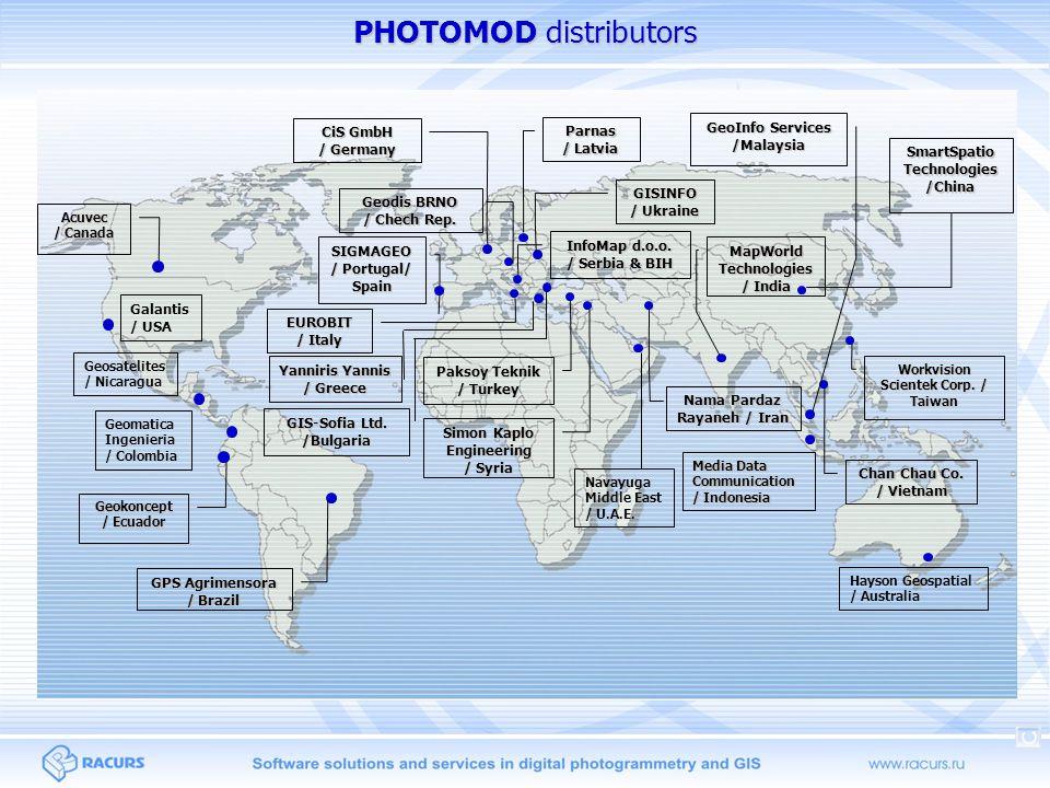PHOTOMOD distributors MapWorld Technologies / India Nama Pardaz Rayaneh / Iran Simon Kaplo Engineering / Syria EUROBIT / Italy Parnas / Latvia SIGMAGEO / Portugal/ Spain InfoMap d.o.o.