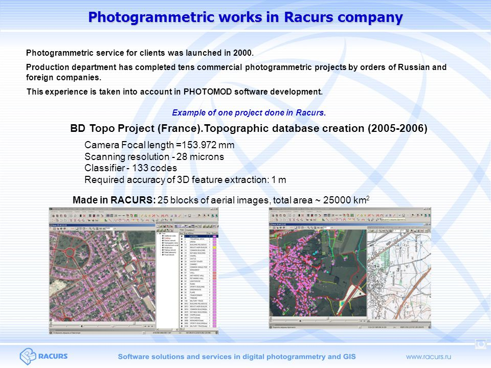 Photogrammetric works in Racurs company Photogrammetric service for clients was launched in 2000.