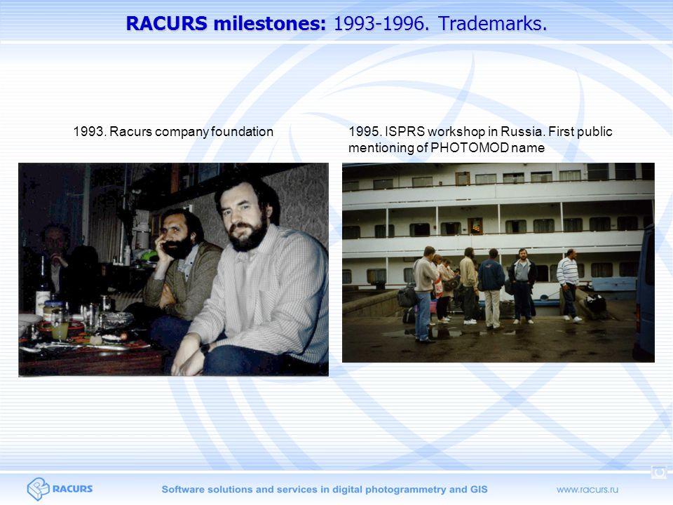 RACURS milestones: 1993-1996.Trademarks. 1993. Racurs company foundation1995.