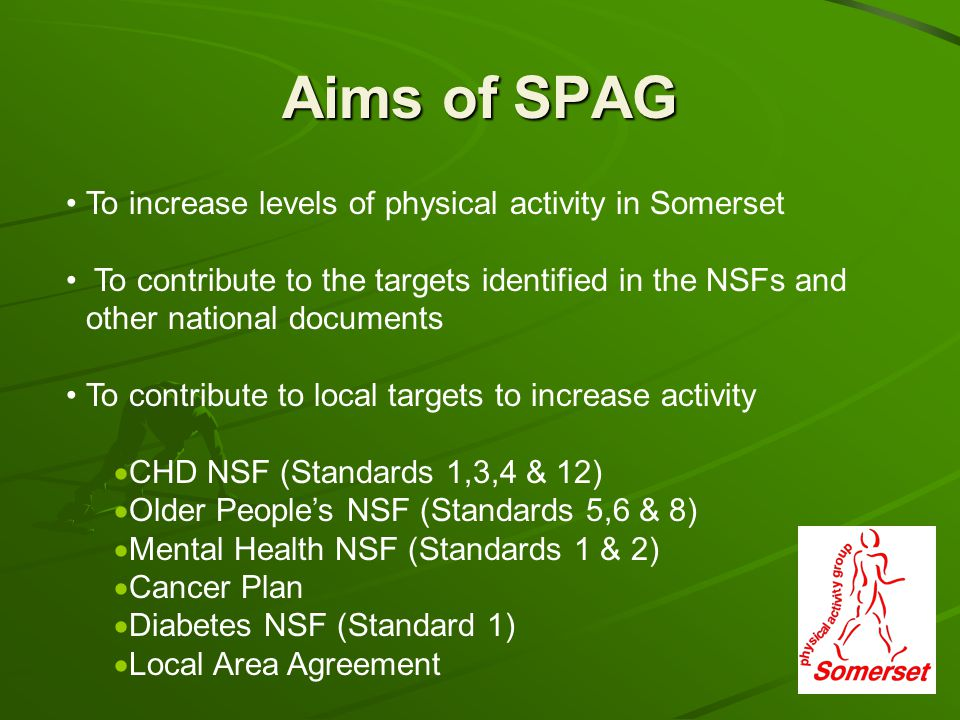 Aims of SPAG To increase levels of physical activity in Somerset To contribute to the targets identified in the NSFs and other national documents To contribute to local targets to increase activity CHD NSF (Standards 1,3,4 & 12) Older Peoples NSF (Standards 5,6 & 8) Mental Health NSF (Standards 1 & 2) Cancer Plan Diabetes NSF (Standard 1) Local Area Agreement