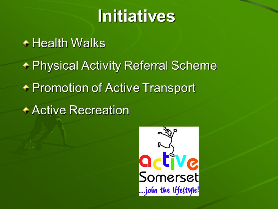 Initiatives Health Walks Physical Activity Referral Scheme Promotion of Active Transport Active Recreation