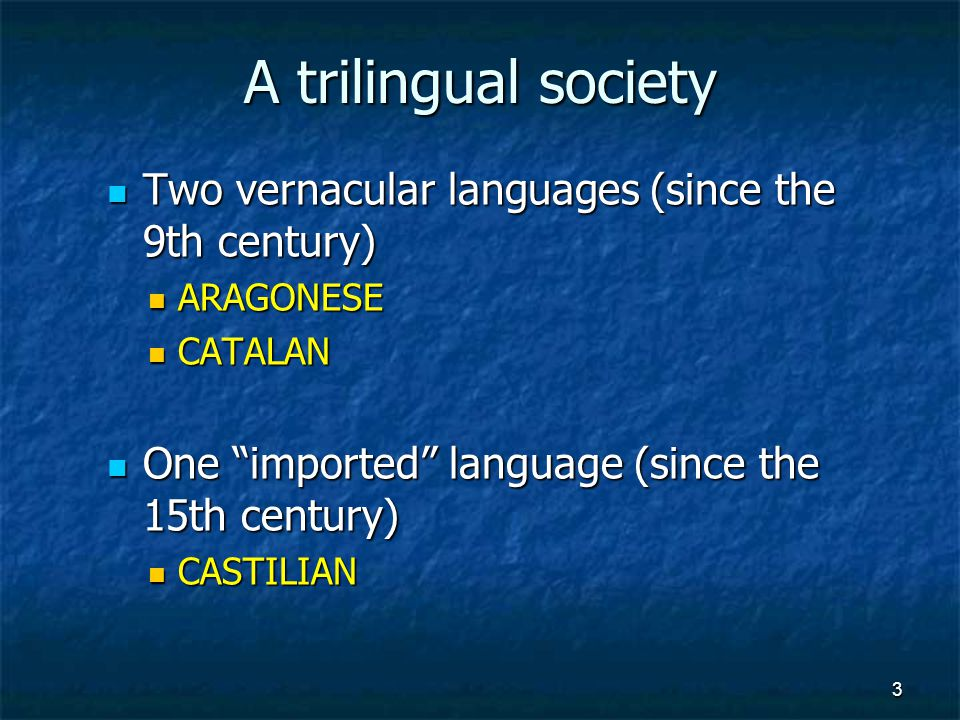 3 Two vernacular languages (since the 9th century) Two vernacular languages (since the 9th century) ARAGONESE ARAGONESE CATALAN CATALAN One imported language (since the 15th century) One imported language (since the 15th century) CASTILIAN CASTILIAN
