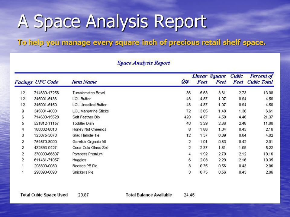 A Space Analysis Report To help you manage every square inch of precious retail shelf space.