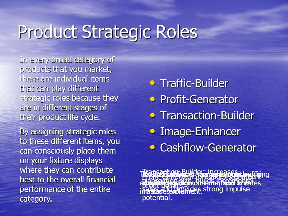 Product Strategic Roles Traffic-Builder Traffic-Builder Profit-Generator Profit-Generator Transaction-Builder Transaction-Builder Image-Enhancer Image