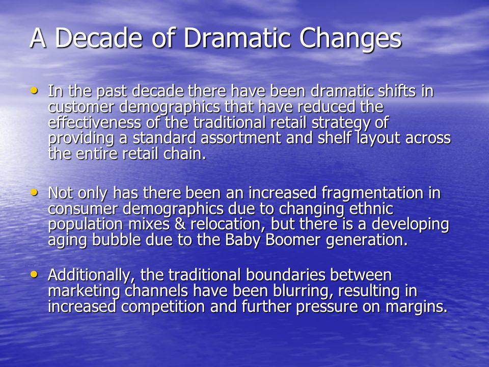 A Decade of Dramatic Changes In the past decade there have been dramatic shifts in customer demographics that have reduced the effectiveness of the tr