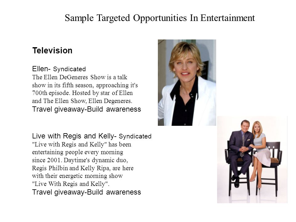 Sample Targeted Opportunities In Entertainment Television Ellen- Syndicated The Ellen DeGeneres Show is a talk show in its fifth season, approaching i