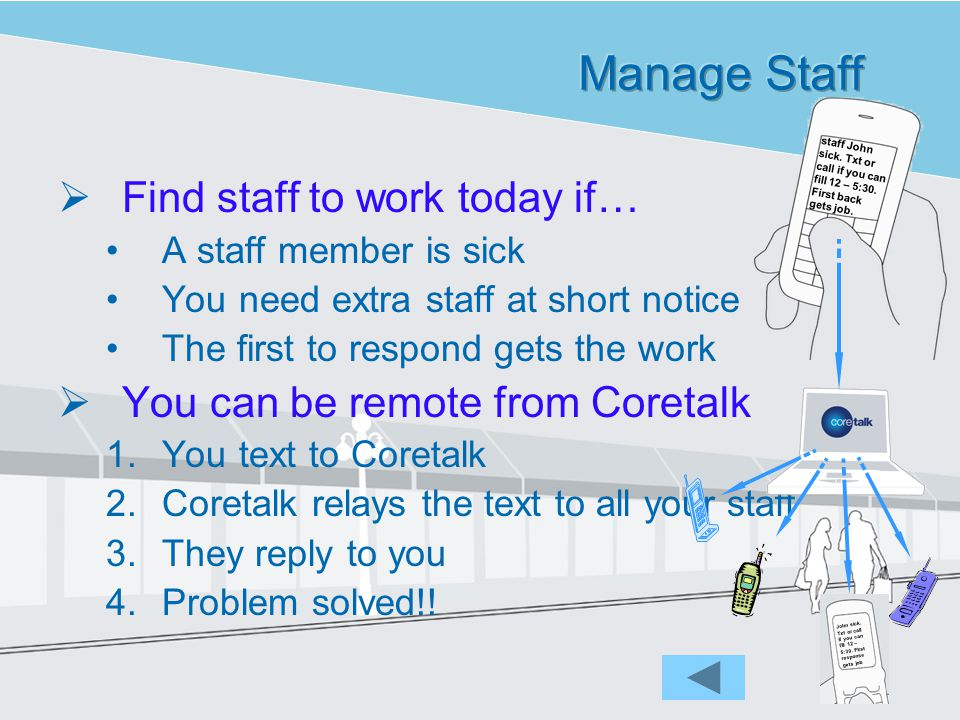 Find staff to work today if… A staff member is sick You need extra staff at short notice The first to respond gets the work You can be remote from Coretalk 1.You text to Coretalk 2.Coretalk relays the text to all your staff 3.They reply to you 4.Problem solved!.