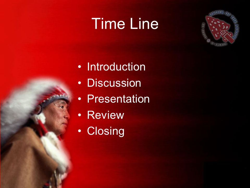 Time Line Introduction Discussion Presentation Review Closing