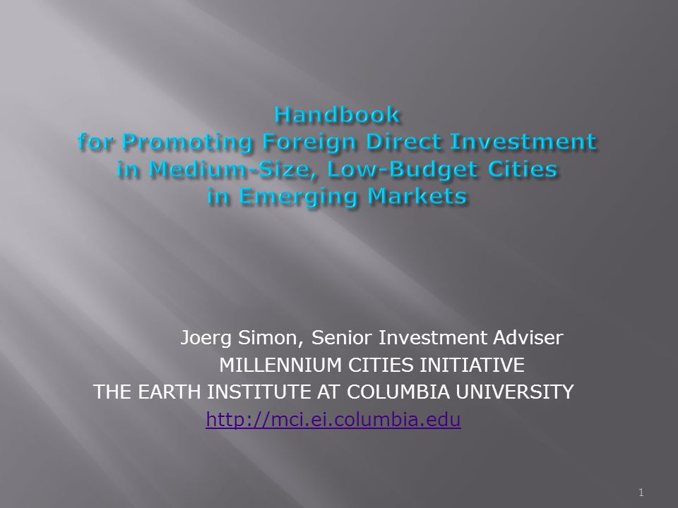Joerg Simon, Senior Investment Adviser MILLENNIUM CITIES INITIATIVE THE EARTH INSTITUTE AT COLUMBIA UNIVERSITY http://mci.ei.columbia.edu 1