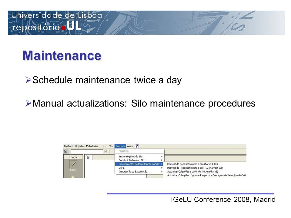 Maintenance IGeLU Conference 2008, Madrid Schedule maintenance twice a day Manual actualizations: Silo maintenance procedures