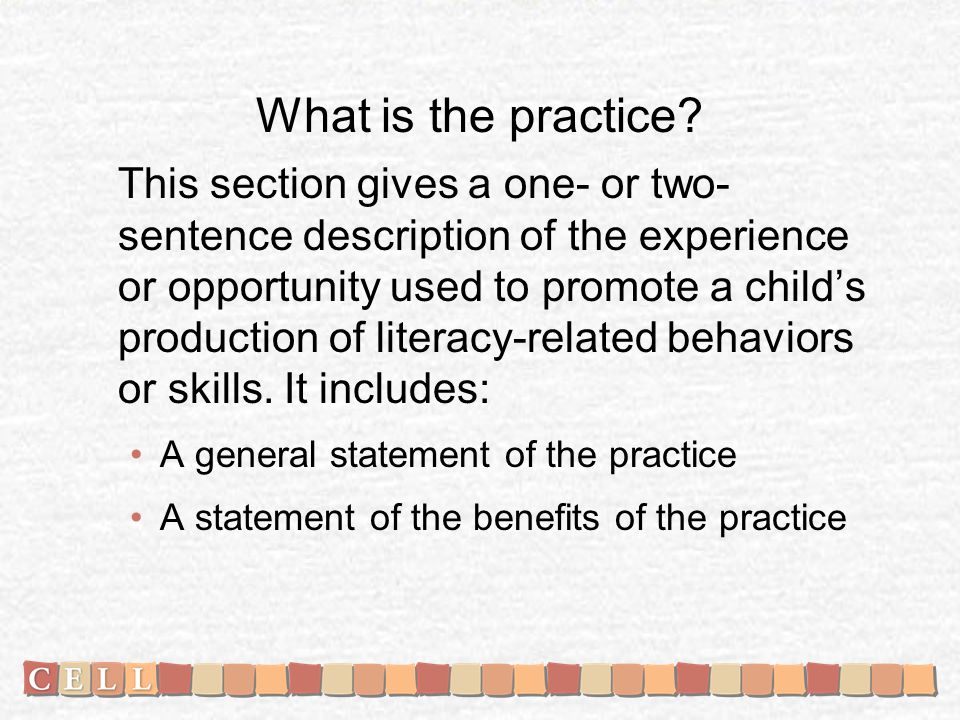 What is the practice.