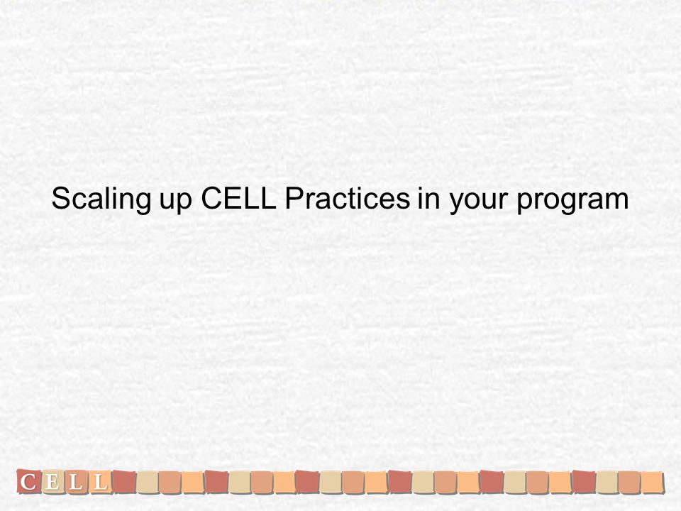 Scaling up CELL Practices in your program