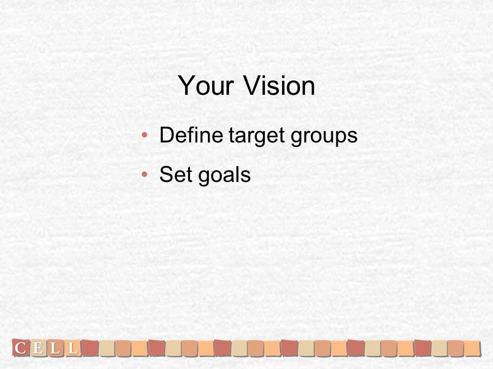 Your Vision Define target groups Set goals