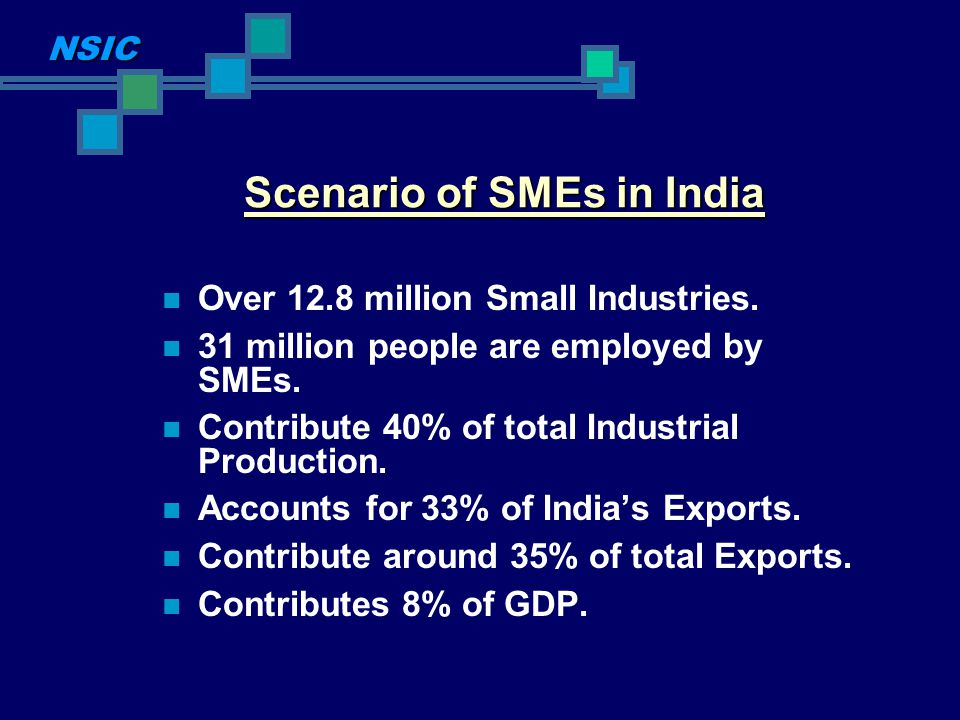 Scenario of SMEs in India Over 12.8 million Small Industries. 31 million people are employed by SMEs. Contribute 40% of total Industrial Production. A