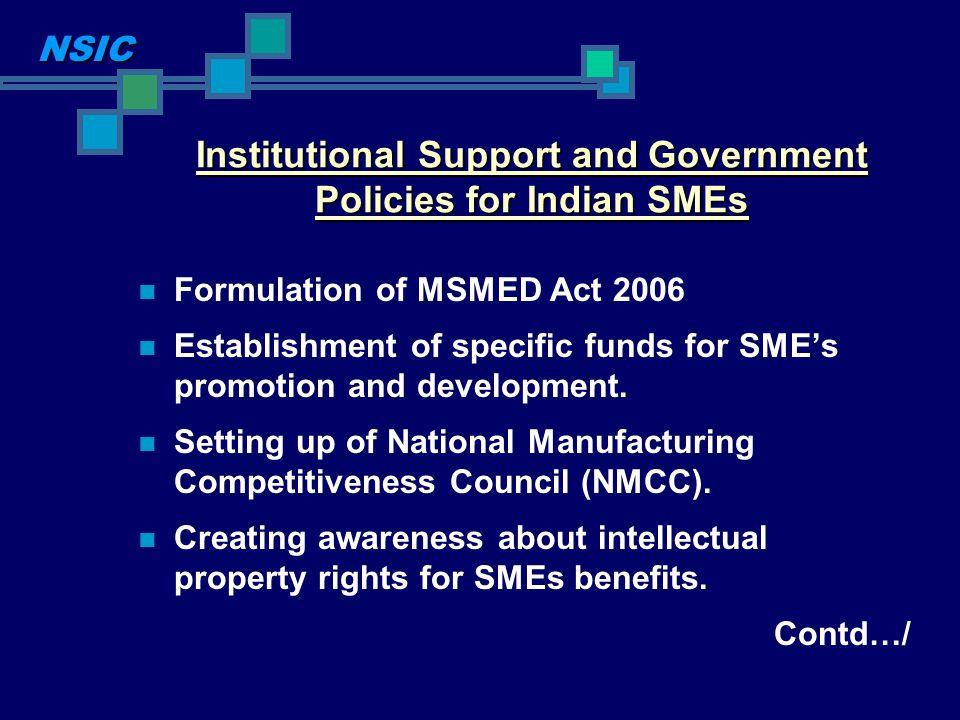 Institutional Support and Government Policies for Indian SMEs Formulation of MSMED Act 2006 Establishment of specific funds for SMEs promotion and dev