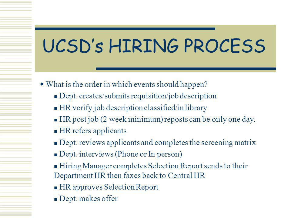 UCSDs HIRING PROCESS What is the order in which events should happen.