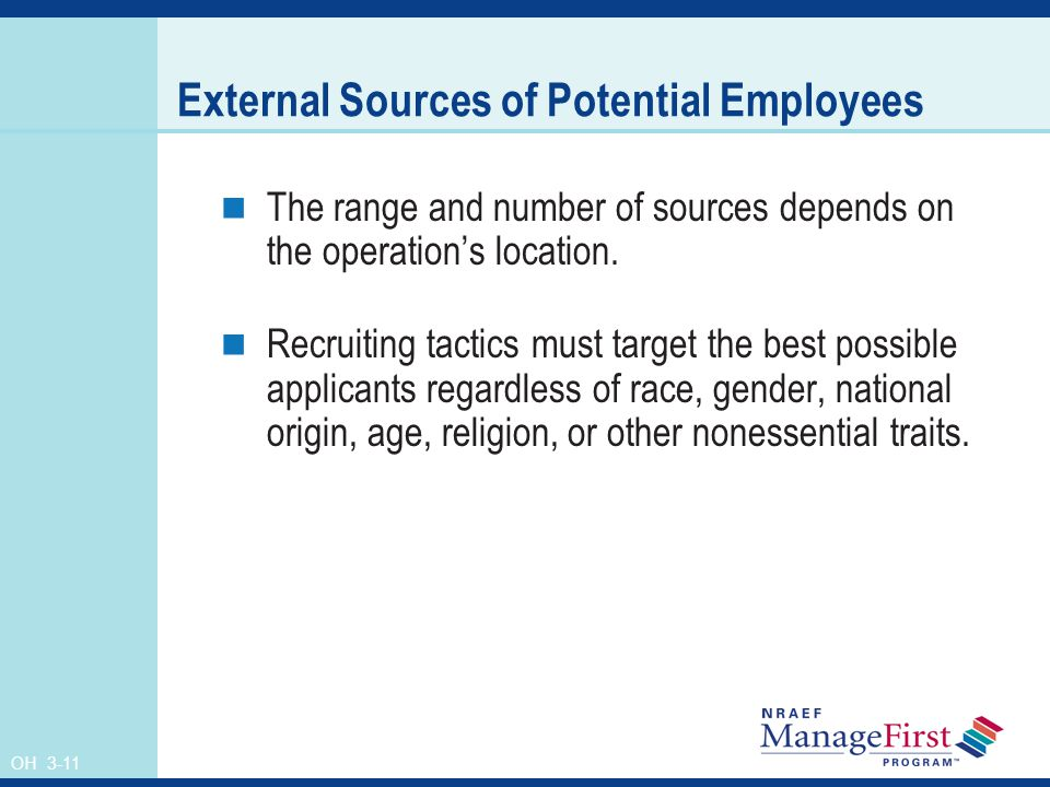OH 3-11 External Sources of Potential Employees The range and number of sources depends on the operations location.
